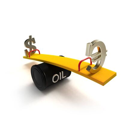 fluctuations: Euro and dollar signs on a seesaw made of oil barrel (euro dominates over dollar)