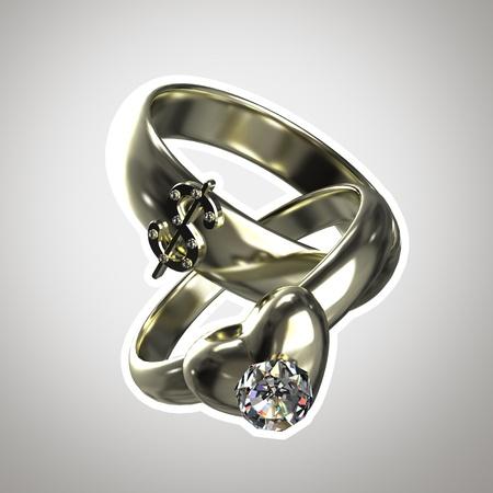 """two stroke: Dos anillos como un ejemplo de """"matrimonio de conveniencia"""" aislado con un trazo blanco Foto de archivo"""