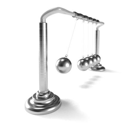 psych: Inertia: metallic toy made of metallic balls isolated on white