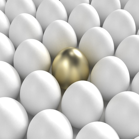 Individuality: golden egg among usual white eggs photo