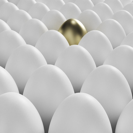 usual: Individuality: golden egg among usual white eggs