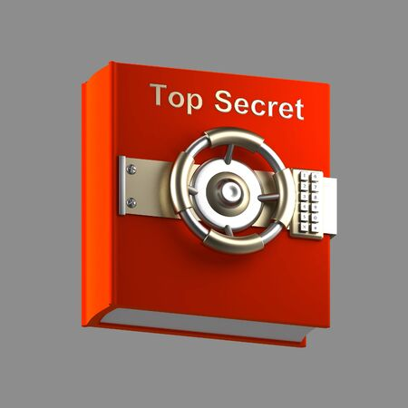vault: Top secret book vault isolated on grey Stock Photo