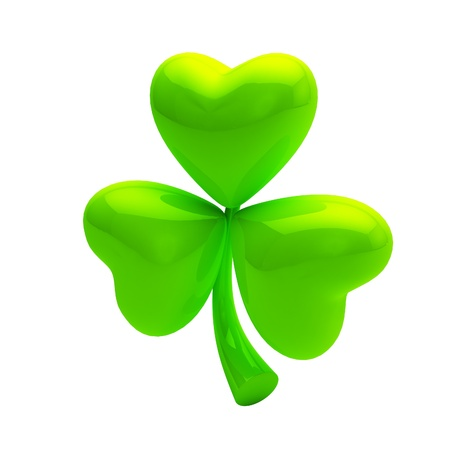 Shiny glossy green clover on white photo