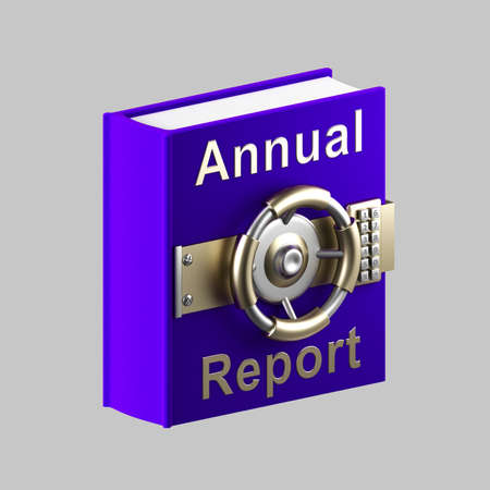 Annual report book vault isolated on grey photo