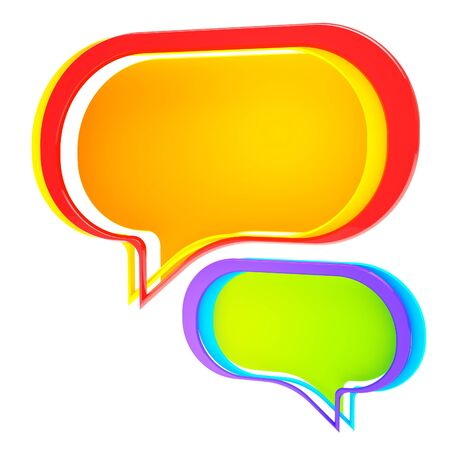 Chatting: colorful text bubble isolated on white photo