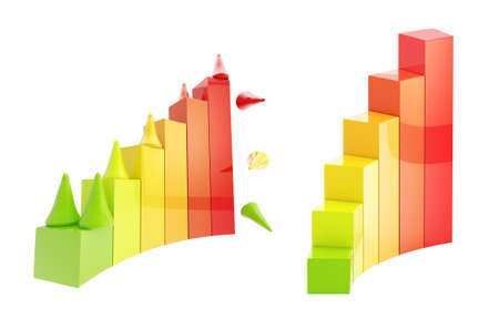 Gaming pieces climbing through the chart isolated Stock Photo - 12449077