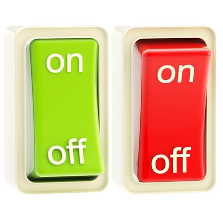 switcher: On and off switch tumblers isolated Stock Photo