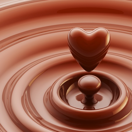 Chocolate heart as a liquid drop background photo