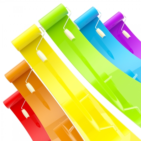 red paint roller: Colorful glossy paint rollers with color strokes