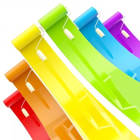 peintre en b�timent: Colorful rouleaux � peindre sur papier glac� avec touches de couleurs Banque d'images