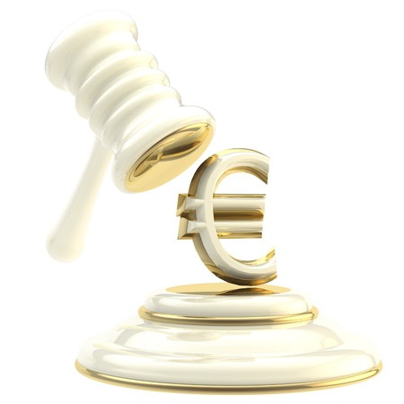 verdicts: Penalty and fine illustration as isolated golden and glossy gavel breaking euro sign