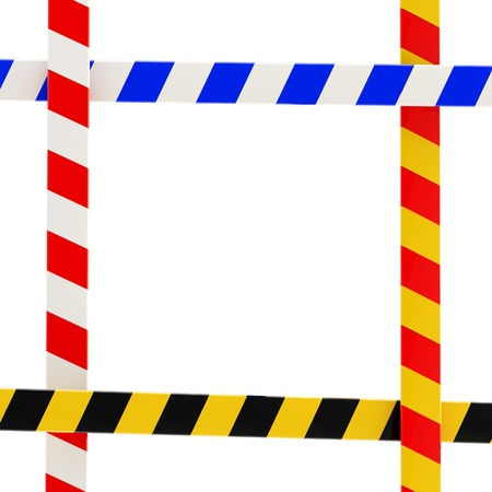 Four kinds of barrier tape forming a colorful glossy frame on white Stock Photo - 12448865