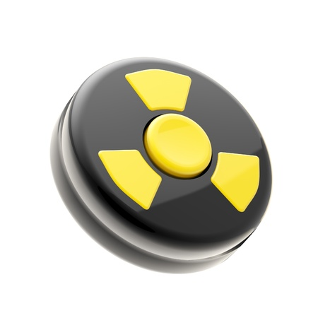 caution chemistry: Black control panel with one yellow nuclear button Stock Photo