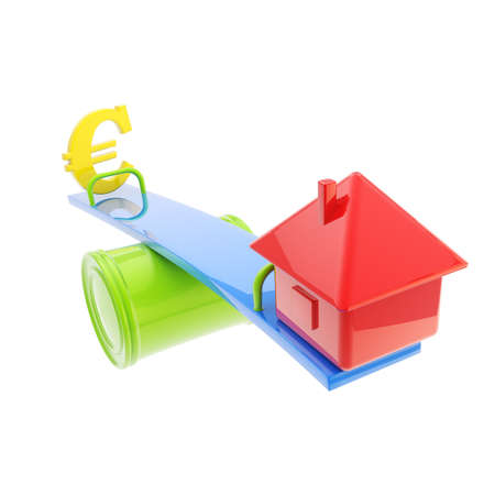 deviation: Icon-like house and euro sign on the teeter totter