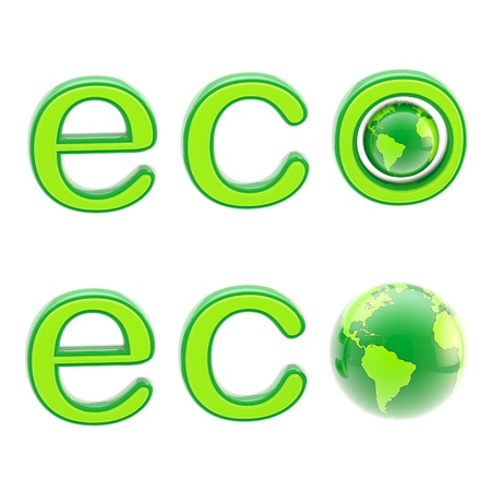 Ecology eco emblem sign with a planet isolated photo