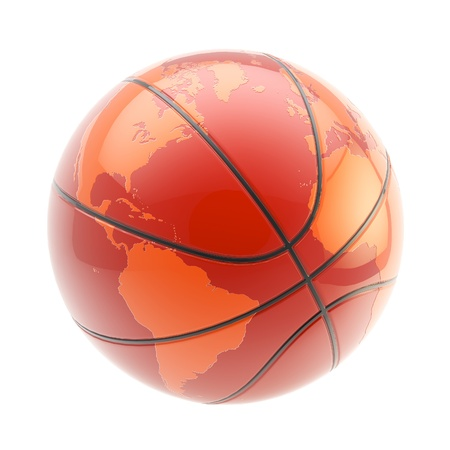 Basketball ball as an Earth planet sphere isolated photo
