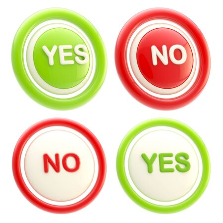 Yes and no glossy plastic buttons isolated photo
