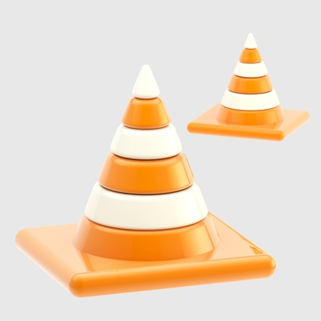 Traffic safety orange road cones isolated