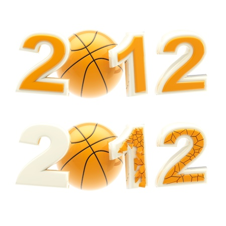 Year 2012 sign: numbers crashed by basketball ball photo