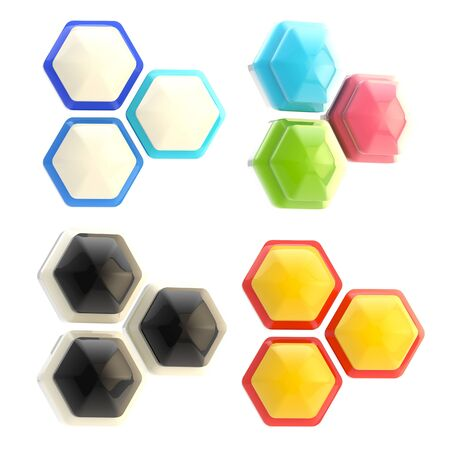 Set of four abstract emblems made of hexagons photo
