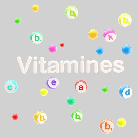 vitamines: Vitamines word surrounded with pills and tablets Stock Photo