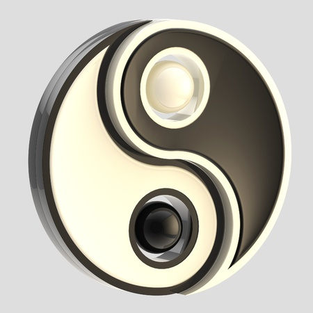 yinyang: Yin-Yang balance black and white emblem isolated Stock Photo
