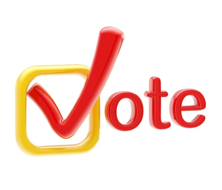 Vote emblem red and orange symbol made of tick isolated on white Stock Photo - 12448824