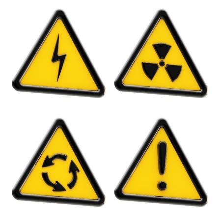 Danger: set of yellow triangle warning signs photo