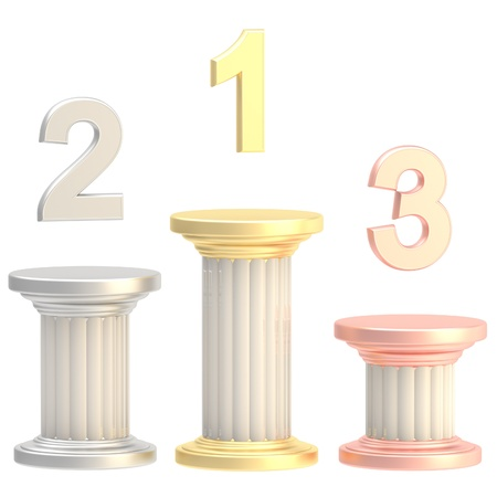 pillar: Winner pillars: first, second, third places Stock Photo