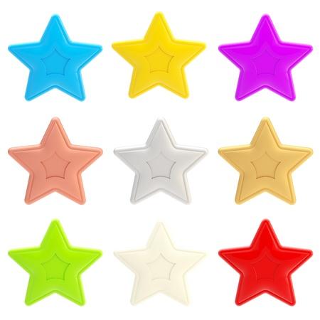 Set of nine colorful glossy stars isolated photo