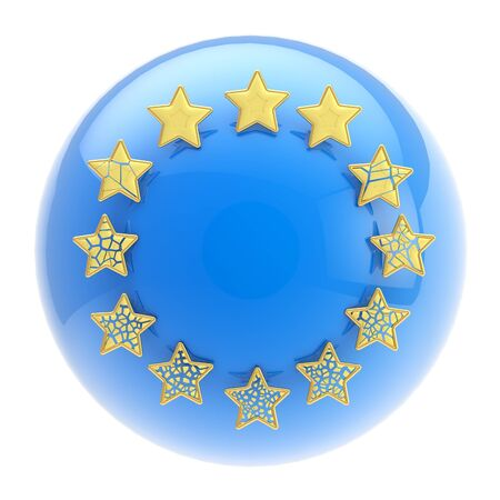 European Union symbol: sphere and collapsing stars photo
