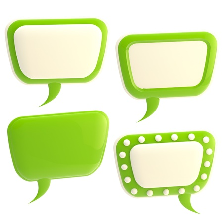 Set of four glossy text bubbles isolated Imagens