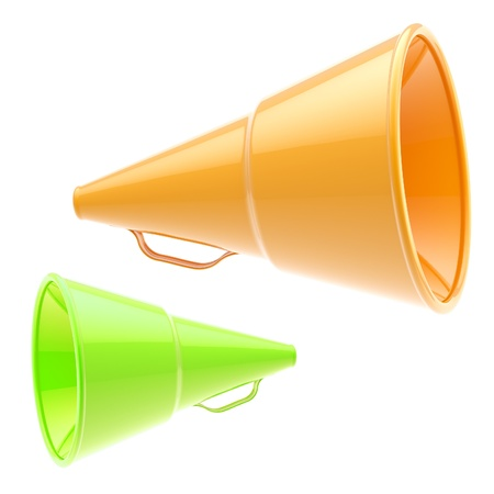 Two glossy orange and green loudspeakers isolated Stock Photo - 12448939