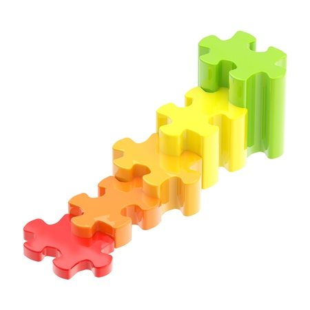 Colorful puzzle pieces as a staircase to success photo