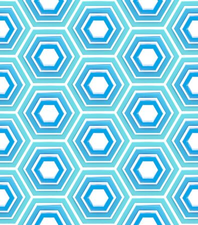 Seamless abstract background texture made of blue bright glossy hexagons photo