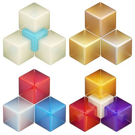 Set of four colorful abstract cube compositions photo