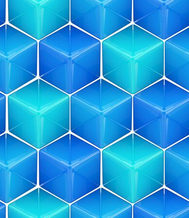 Seamless abstract colorful background made of cubes and hexagons photo