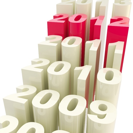 cracking: 2012: Year timeline as a cracking staircase Stock Photo