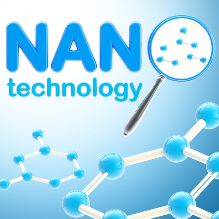 Nano technology blue glossy background photo