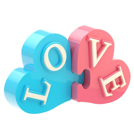 Word love made of puzzle hearts photo