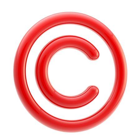 Copyright alert: red glossy copyright symbol photo