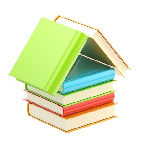 Bookstore emblem as a house made of books Stock Photo - 12449166