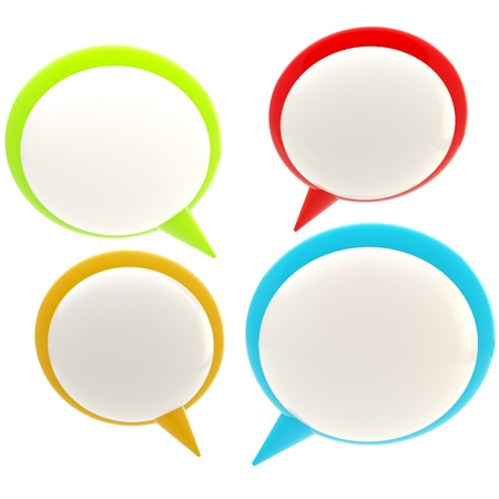 Set of four glossy text bubbles isolated Stock Photo - 12448788