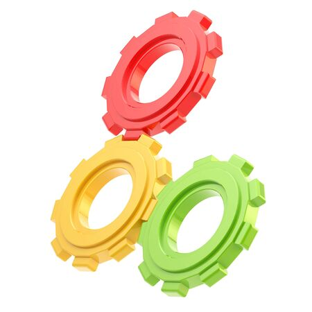 machined: Set of three plastic red, yellow and green linked cogwheels isolated on white