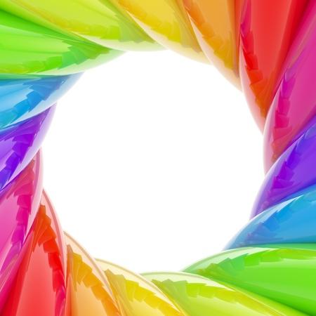 Circular abstract frame made of wavy elements photo