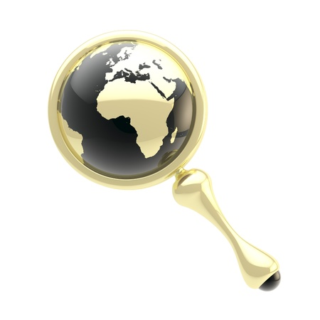 Magnifying glass icon with an earth globe inside Stock Photo - 12448828