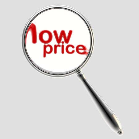 low price: Prezzo basso sotto lente d'ingrandimento emblema isolato