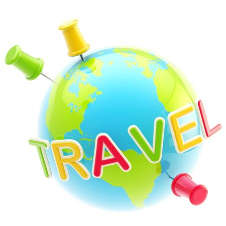 Glossy planet travelling emblem isolated photo