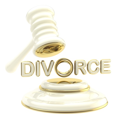 Divorce under the judge gavel isolated photo
