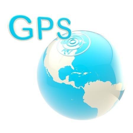 gps device: GPS emblem as the earth globe
